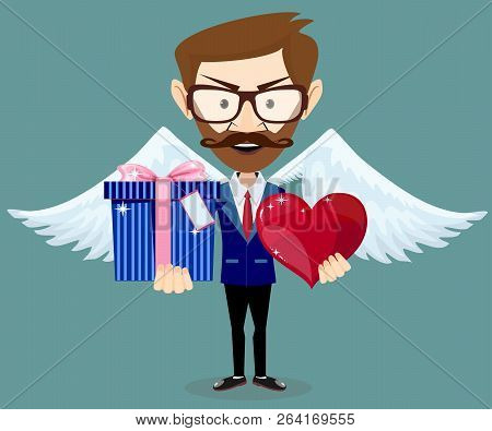 Angel With Gift For Valentines Day. Stock Flat Vector Illustration.