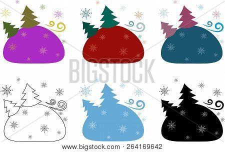Stock Isolated Set Landscape Winter Card Xmas Pattern
