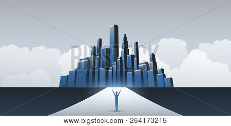 Business Or Career Opportunity In The City - Vector Design Concept, Symbol Of Success, Vision, Futur