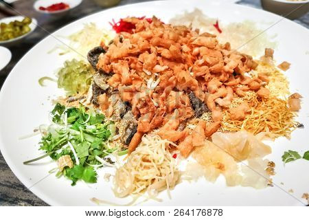 Serving Of Yee Sang Or Yusheng During Chinese New Year