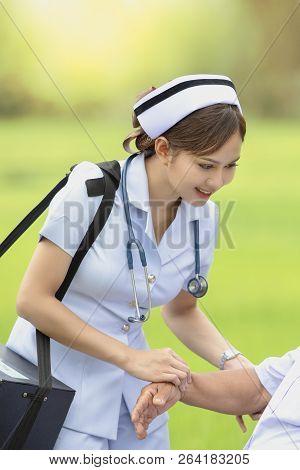 Field Nurse In The Wilderness,medical Education,concept Modern Medical Education, Education In The F