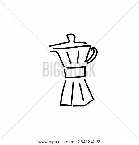 Vector Hand Drawn Illustration Set Of Coffee Preparation. Pour Over Brewer, Coffee Kettle, French Pr