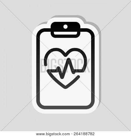 Medical Clipboard. Tablet, Paper, Heart And Pulse Line. Cardiology Report Blank. Linear Icon With Th