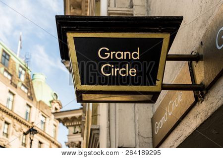 London October 2018. A View Of A Sign For The Grand Circle At The Lyceum Theatre In London