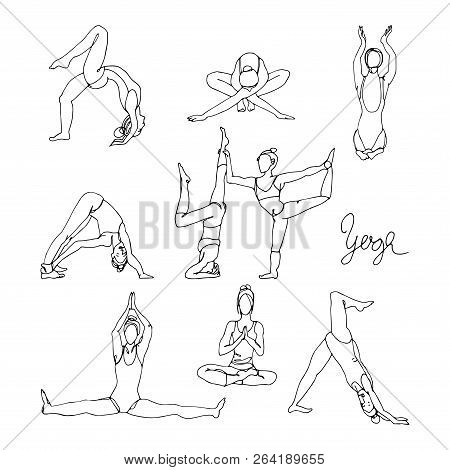 Woman In Different Yoga Poses Hand Drawn Sketch. Single Line Woman Yoga Exercises.