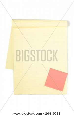 A legal pad isolated on a white background