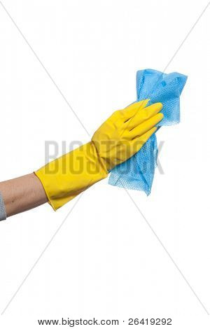 A Person Wiping window with Rag