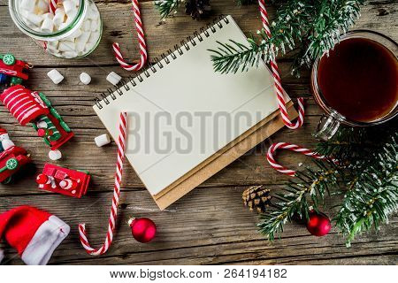 Christmas Concept, Preparation For Xmas Holidays, Notepad For Wish List, Santa Letter. To Do List, W