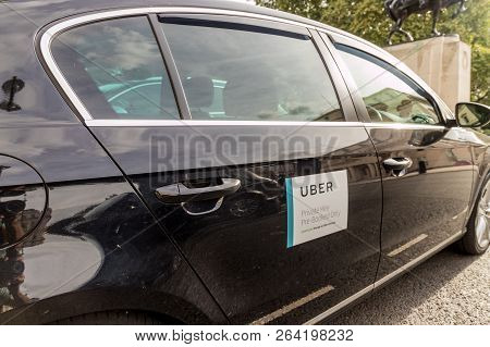 London October 2018. A View Of An Uber Car In London