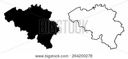 Simple (only Sharp Corners) Map Of Belgium Vector Drawing. Mercator Projection. Filled And Outline V