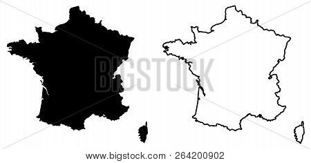 Simple (only Sharp Corners) Map Of France Vector Drawing. Mercator Projection. Filled And Outline Ve