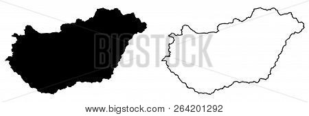 Simple (only Sharp Corners) Map Of Hungary Vector Drawing. Mercator Projection. Filled And Outline V