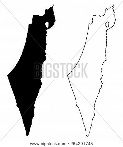Simple (only Sharp Corners) Map Of Israel (including Palestine - Gaza Strip And West Bank) Vector Dr
