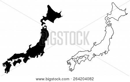 Simple (only Sharp Corners) Map Of Japan Vector Drawing. Filled And Outlined Version.