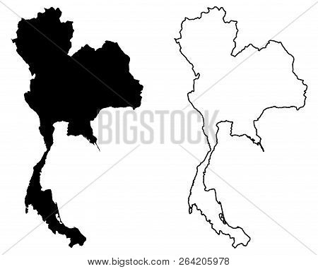 Simple (only Sharp Corners) Map Of Thailand Vector Drawing. Mercator Projection. Filled And Outline