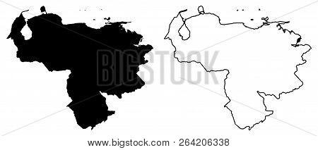 Simple (only Sharp Corners) Map - Bolivarian Republic Of Venezuela Vector Drawing. Mercator Projecti