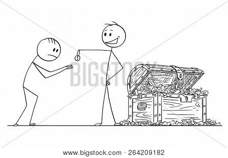 Cartoon Stick Drawing Conceptual Illustration Of Haughty Or Arrogant Man Or Businessman With Chest F
