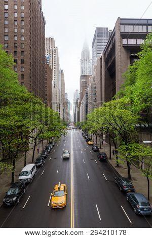 New York, Usa - May 03, 2016: W 42 Street And Chrysler Building. Manhattan Modern Architecture. Manh