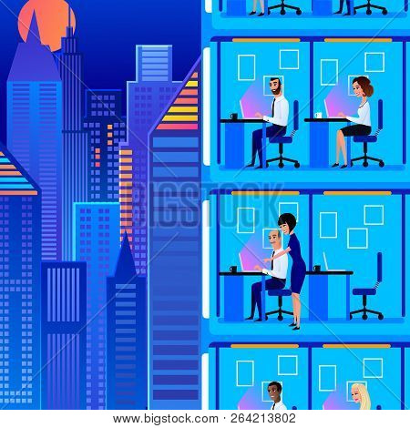 Working In Office At Late, Night Shift Office Jobs Cartoon Vector Concept With Business People, Comp