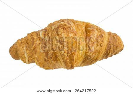 Close-up Of A French Croissant Isolated On A White Clean Background. French Croissant On White Backg