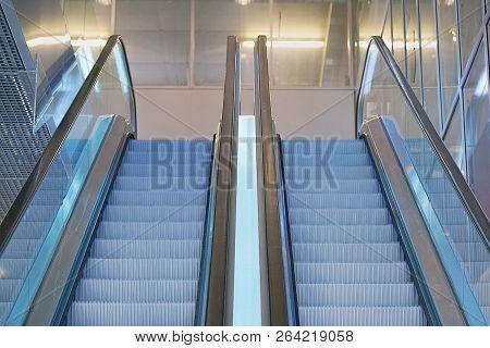 Escalators In An Office Building. Empty Escalator Stairs. Modern Escalator In Shopping Mall, Departm
