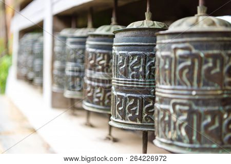 Ngawal Village, Annapurna Conservation Area, Nepal - July 24, 2018 : Prayer Wheels In Tibetan Buddhi