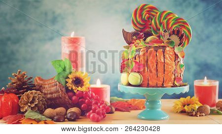 On Trend Thanksgiving Candyland Novelty Drip Cake, Retro Filter.
