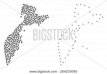 Dotted And Frame Map Of Kamchatka Peninsula Formed With Dots. Vector Gray Abstraction Of Map Of Kamc