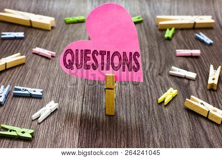 Writing Note Showing Questions. Business Photo Showcasing Interrogative Expression Requesting Answer