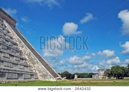 View Of Mayan City Ruins With Major Buildings