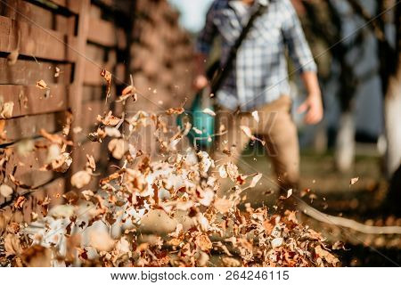 Close Up Details Of Leaves Swirling Up When Worker Uses Home Leaf Blower