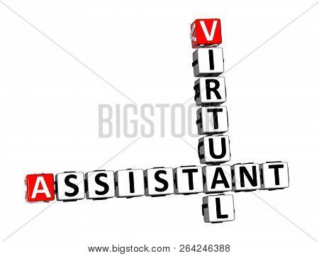 3d Rendering Crossword Virtual Assistant Over White Background.