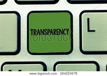 Word Writing Text Transparency. Business Concept For Condition Being Transparent Clear Obvious Evide