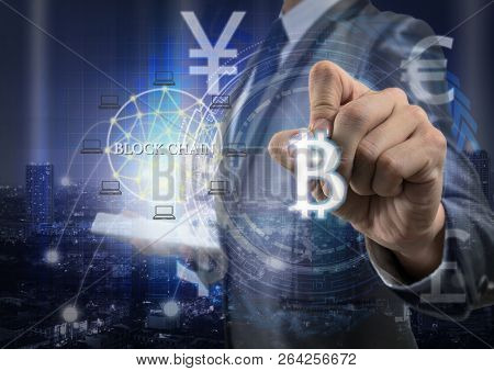 Double Exposure Of Businessman Using Tablet And Writing The Bitcoins And Block Chain Over The Innova
