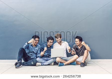 Group Of Asian And Multiethnic Business People With Casual Suit Using Each Technology Equipment Brai