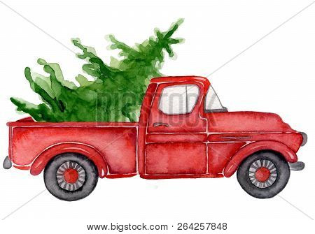 Red Christmas Truck With Pine Trees New Year Hand Drawn Watercolor Illustration