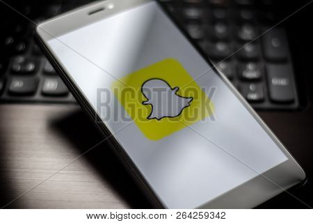 Yoshkar-ola, Russia - October 2018: Vignette Selective Focus Smartphone Close Up With Snapchat Appli