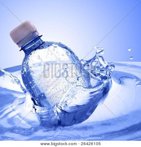 plastic bottle in water