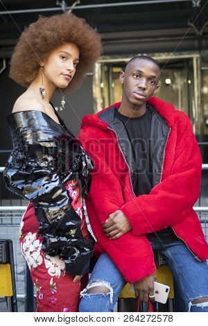 London, United Kingdom- September 14 2018: People On The Street During The London Fashion Week. A Gr