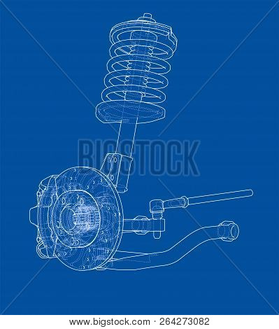 Car Suspension With Shock Absorber. Vector Rendering Of 3d. Wire-frame Style. The Layers Of Visible
