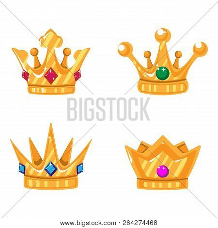 Set Of Gold Crown Icons With Gems. Collection Of Crown Awards For Winners, Champions, Leadership. Ve