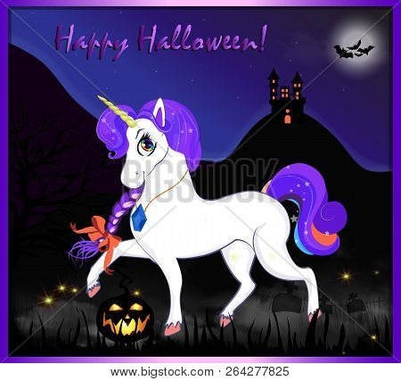 Happy Halloween Cartoon Greeting Card Of Cute Magical Unicorn With Purple Hair On Night Full Moon Sp