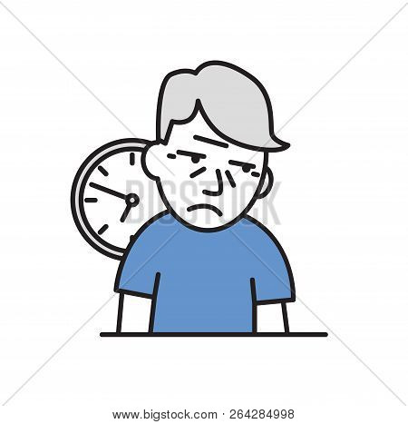 Old Man Being Confused And Forgetful About Time. Cartoon Design Icon. Flat Vector Illustration. Isol