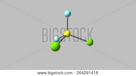 Dichlorodifluoromethane or Freon-12 is a colorless gas used as a refrigerant and aerosol spray propellant. 3d illustration poster