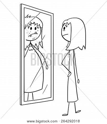 Cartoon Stick Drawing Conceptual Illustration Of Ordinary Nice And Slim Woman Or Girl Looking At Her