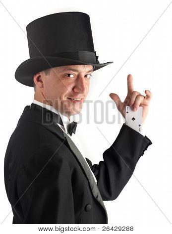man hiding ace in sleeve