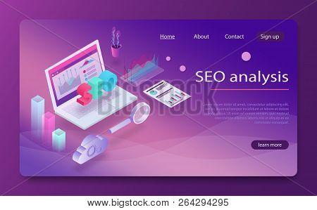 Seo Analysis And Optimization, Seo Strategies Marketing Concept. Data Analytics Platform Isometric V