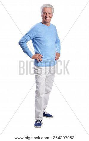 Portrait Of Full Length Of Senior Man Posing On White Background