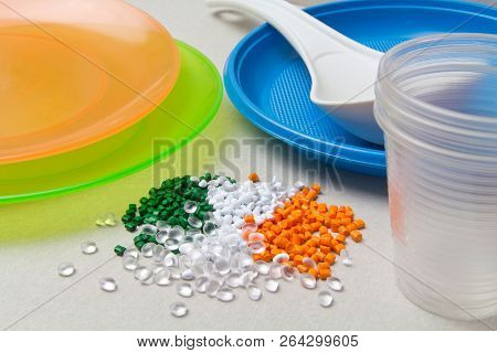 Polyethylene Granules And Disposable Tableware Made Of Polyethylene, Polypropylene. Bpa Free Concept