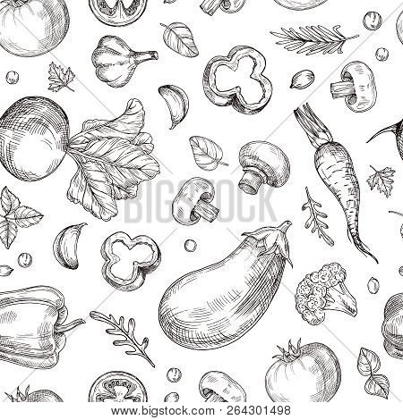 Vegetable Hand Drawn Seamless Pattern. Fresh Vegetarian Food, Garden Vegetables. Etching Drawing Vec